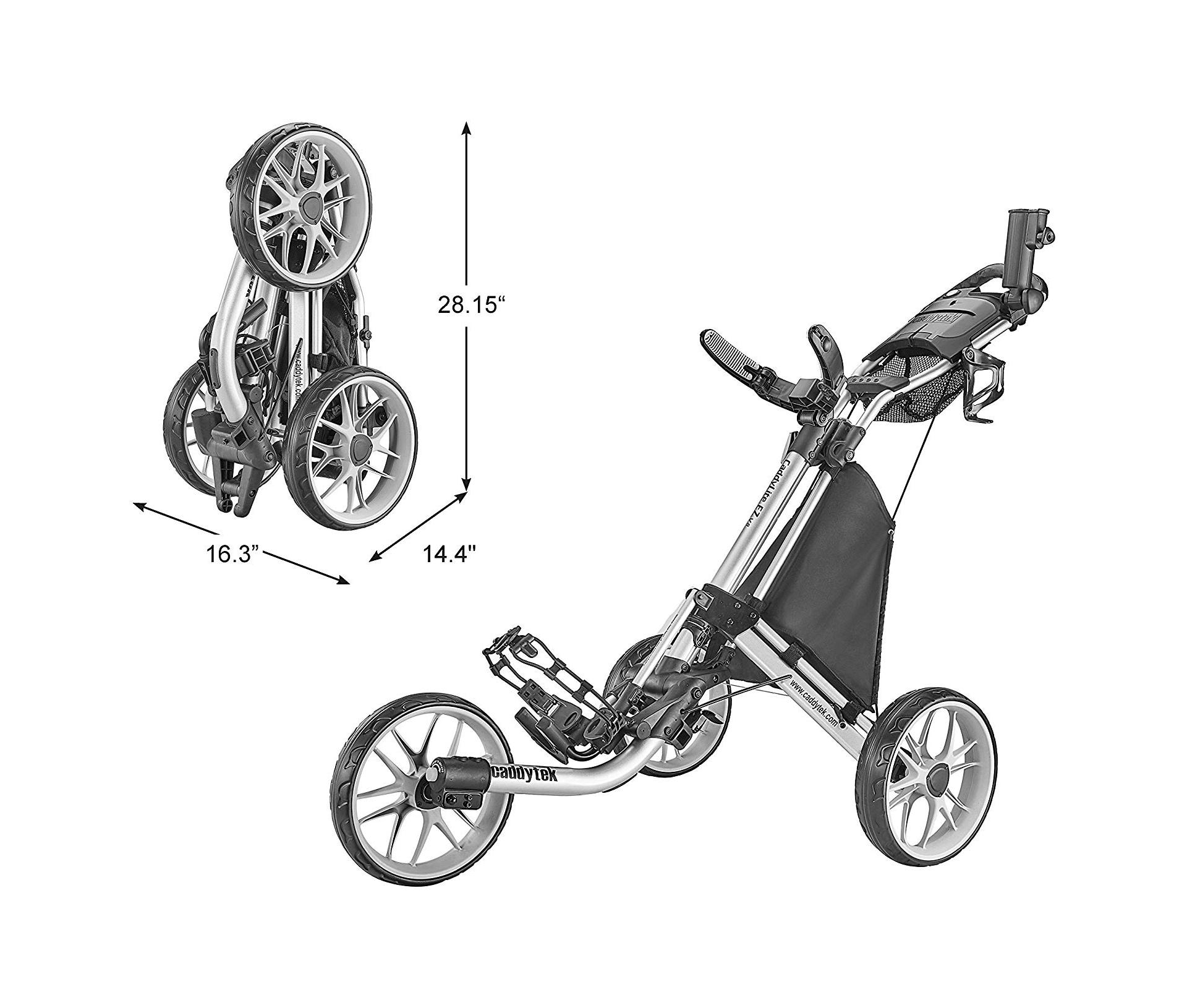 CaddyTek Caddylite EZ V8 – EZ-Fold 3 Wheel Golf Push Cart