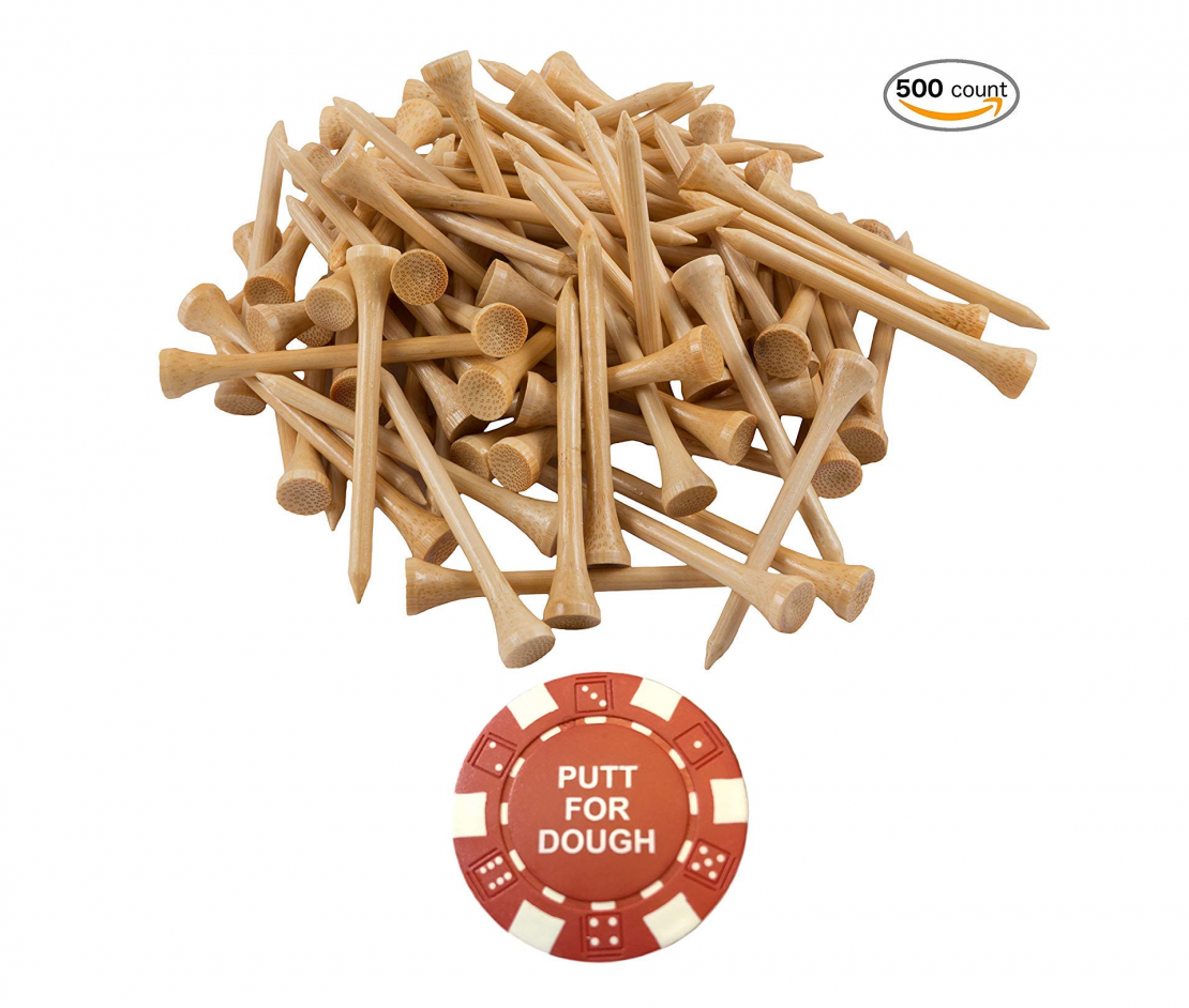 Wedge Guys PGA Approved Professional Bamboo Golf Tees 2-3/4 Inch